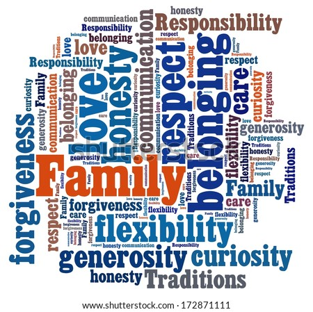 Family Values in word collage - stock photo