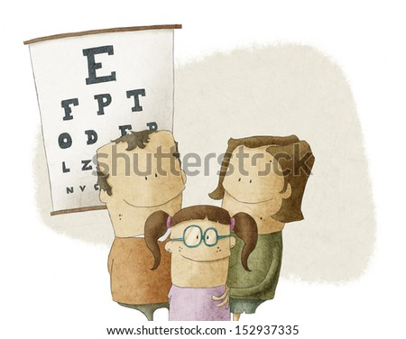 Family visits oculist doctor - stock photo
