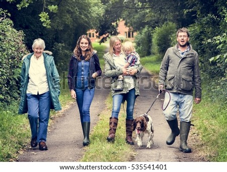 Family Walking Dog Togetherness Nature Concept