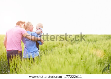 Family Walking In Field Carrying Young Baby Son