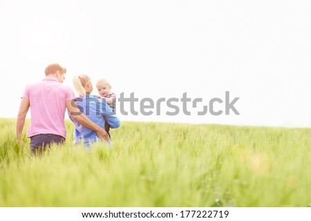 Family Walking In Field Carrying Young Baby Son - stock photo