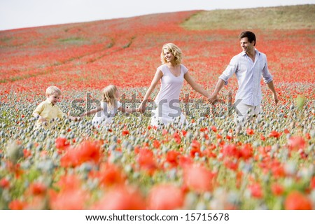 Family walking in poppy field holding hands smiling - stock photo