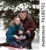 Family walking in the park during the winter snowfall - stock photo