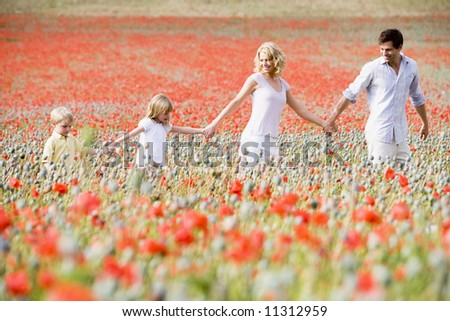 Family walking through poppy field - stock photo