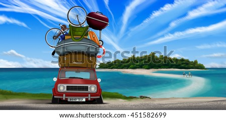 Family walking to an island with a small red overloaded car - stock photo