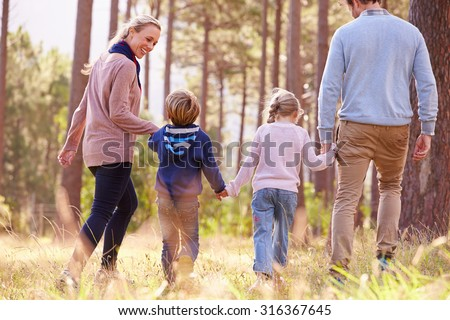 Family walking towards a forest, back view - stock photo