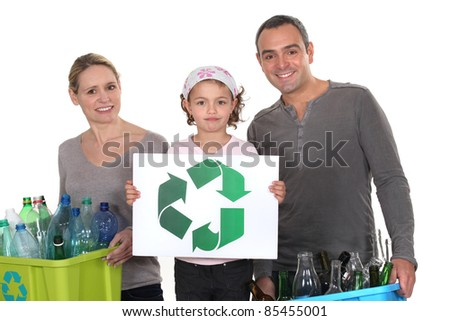 family waste sorting - stock photo
