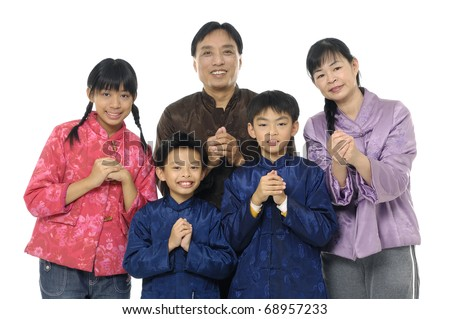 family wishing you a happy chinese new year - stock photo