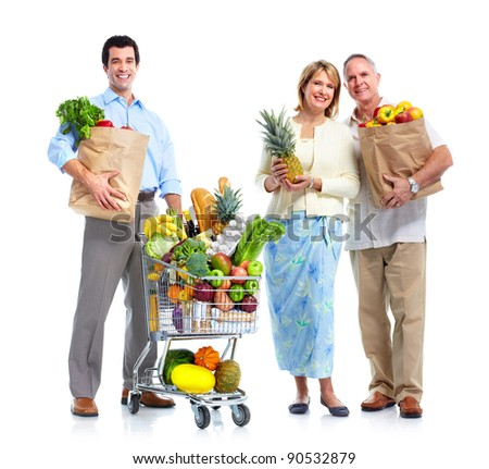 Family with a grocery shopping cart. Isolated on white background. - stock photo
