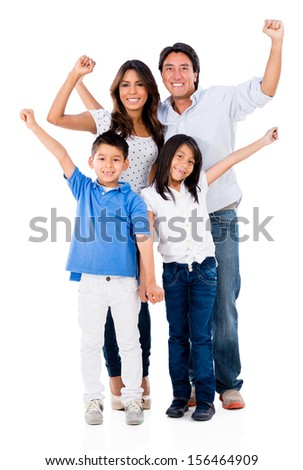 Family with arms up looking very happy - isolated over a white background  - stock photo