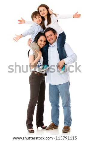 Family with arms up looking very happy - isolated over white - stock photo