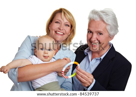 Family with baby and mother and grandmother - stock photo