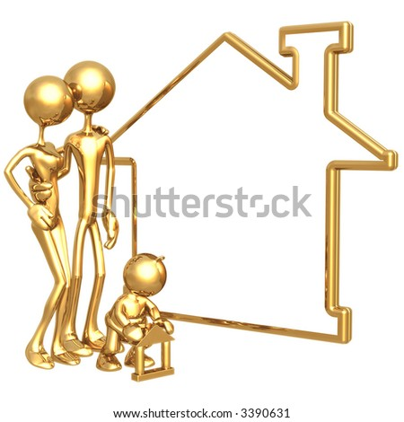 Family With Blank Home Sign Realty Concept - stock photo