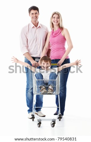 Family with cart on a white background - stock photo