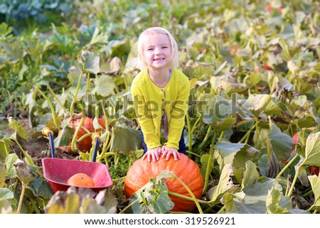 Family with children having fun outdoors on sunny autumn day. Cute little kid playing with wheel barrow at pumpkin patch. Toddler girl picking vegetables on a farm for Halloween. - stock photo