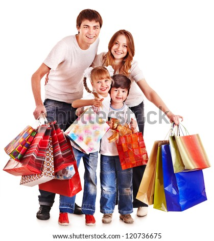 Family with children holding shopping bag. Isolated. - stock photo