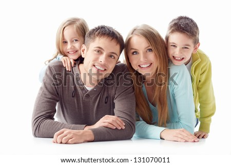 Family with children on a white background - stock photo