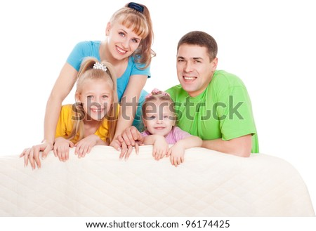 Family with daughters, a white background - stock photo