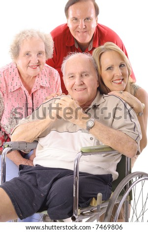 Family with handicap father vertical - stock photo