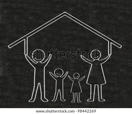 family with house written on blackboard background high resolution - stock photo