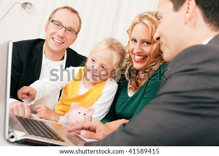 Family with their consultant (assets, money or similar) doing some financial planning - symbolized by a piggy bank the daughter is holding in her hand - stock photo