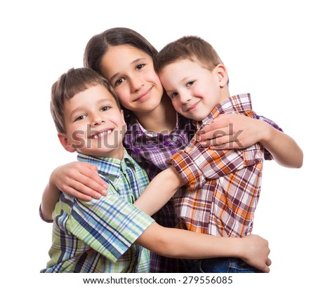 Family with three happy kids hugging together, isolated on white - stock photo