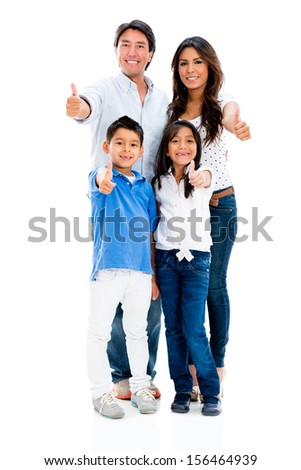 Family with thumbs up looking very happy - isolated over white