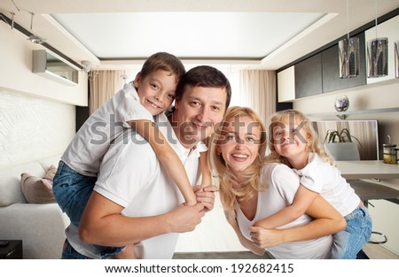 Family with two children at home
