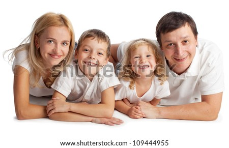 Family with two children on white background - stock photo