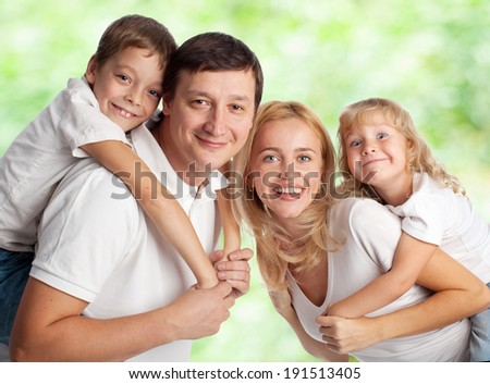 Family with two children outdoors