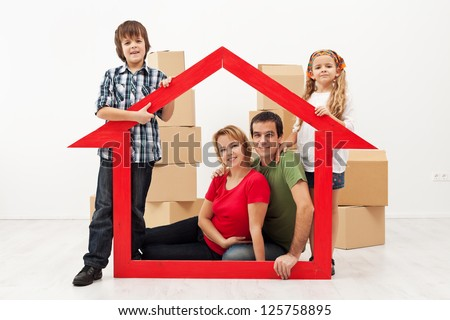 Family with two kids in their new home concept