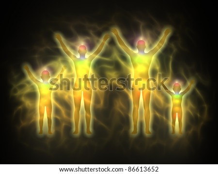 Family - woman, man and children - energy body, aura, chakras, energy, silhouette - stock photo
