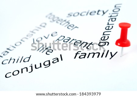 Family word pinned on paper