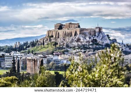 Famous Acropolis with Parthenon temple in Athens, Greece - stock photo