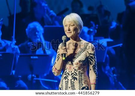 "Famous actress Dame Helen Mirren at the Genesis (""Jewish Nobel"") prize ceremony. Jerusalem, Israel, June 23, 2016. - stock photo"