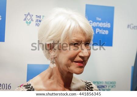 "Famous actress Helen Mirren at the Genesis (""Jewish Nobel"") prize ceremony. Jerusalem, Israel, June 23, 2016. - stock photo"