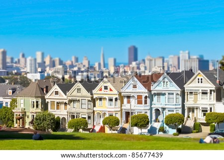 Famous Alamo Square in San Francisco, California with tilt-shift lens effect - stock photo