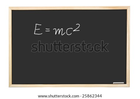 Famous Albert Einstein's equation E=mc2 handwritten on blackboard - stock photo