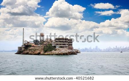 Famous Alcatraz Island in San Francisco USA - stock photo