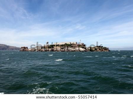 Famous Alcatraz Prison National Park in San Francisco Bay. - stock photo