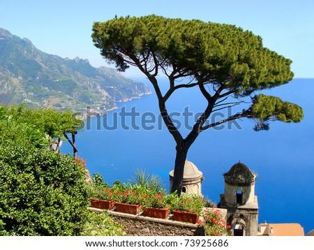 Famous Amalfi Coast view from Ravello, Italy - stock photo