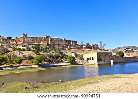 famous Amber Fort in Jaipur - stock photo