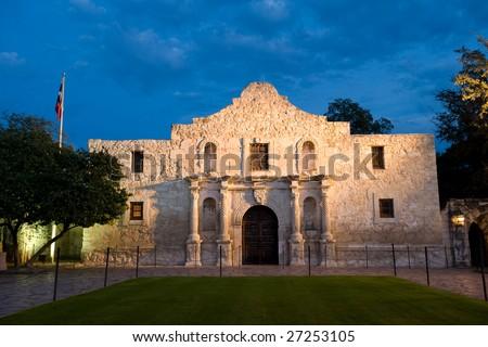 Famous american landmark - Alamo mission in San Antonio, Texas - stock photo