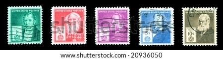 Famous Americans United States Postage Stamp Series 1940 inventors - stock photo