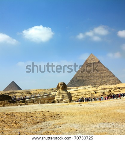 famous ancient egypt pyramid and sphinx in Giza
