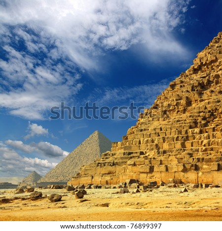 famous ancient egypt pyramids in Giza Cairo - stock photo