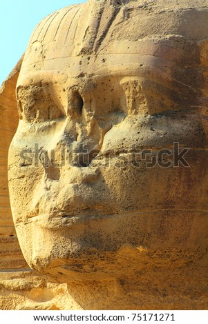 famous ancient egypt sphinx face in Giza - stock photo