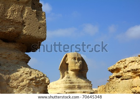 famous ancient egypt sphinx in Giza Cairo - stock photo