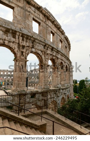 Famous ancient Roman Amphitheater - Arena, 1st. century, Pula, Croatia. Arena of Pula of Istrian peninsula submitted on the tentative list of UNESCO World Heritage Site. - stock photo