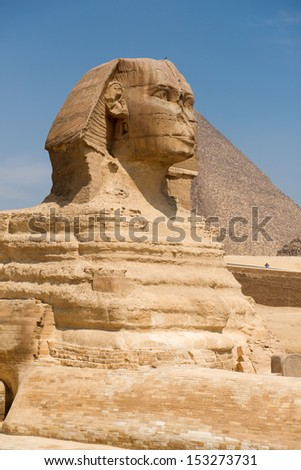 Famous ancient statue of Sphinx in Giza, Egypt  - stock photo